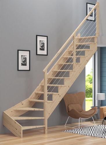 Escalier Simple graphic bois - simple crémaillère