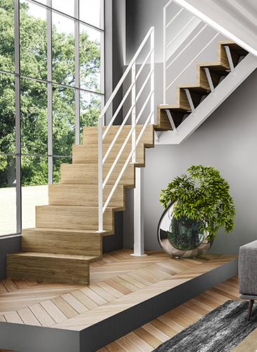 escalier bois metal
