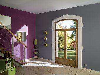 Porte fenêtre bois VIRTUOSE en chêne avec soubassement et imposte cintrée en arc surbaissé. GIMM Menuiseries