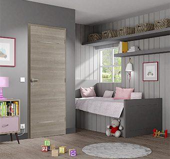 Bloc porte bois Pulsion Decor bois modèle Elis avec huisserie huisserie fin de chantier