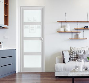 Gamme de bloc porte bois Pulsion Graphica, modèle Valencia avec huisserie traditionnelle
