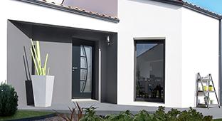 Porte d'entrée sur-mesure aluminium GIMM Menuiseries